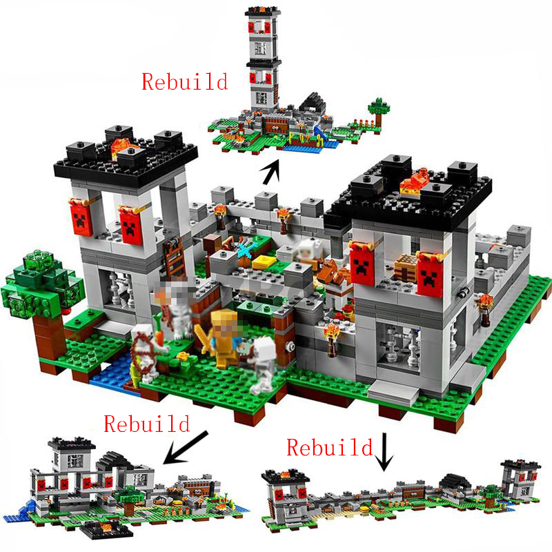 990pcs My World The Fortress Castle Adventures 10472 Model Building Blocks Children Toys Bricks Compatible Legoing Minecrafted Regular Tea Drinking Improves Your Health Model Building