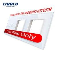 Free Shipping Livolo White Pearl Crystal Glass 222mm 80mm EU Standard 2Gang 2 Frame Glass Panel