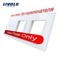 Livolo White Pearl Crystal Glass, 222mm*80mm, EU standard,2Gang &2 Frame Glass Panel, VL-C7-C2/SR/SR-11 (4 Colors)