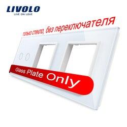 Livolo branco pérola cristal de vidro, 222mm * 80mm, padrão da ue, 2 gang & 2 quadro painel de vidro, VL-C7-C2/sr/SR-11 (4 cores)