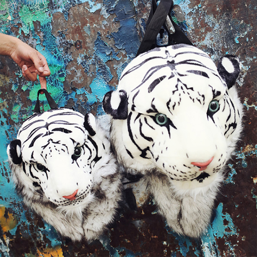 Image 2 - Fashion Plush 3D Tiger Lion Head Backpack Panda Backpack Unisex Personality Couple Animal Backpack Student Funny Travel Bag 2019-in Backpacks from Luggage & Bags