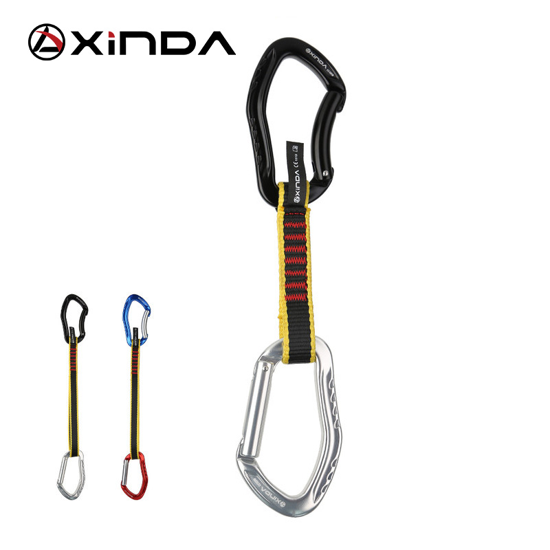 XINDA Profession Rock Climbing Quickdraw Sling Safety Lock Extenders Straight Bent Carabiner Mountaineer Outdoor Protect Kits