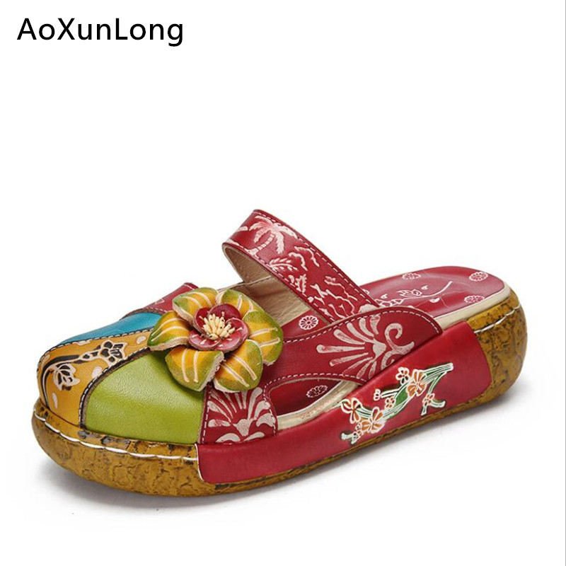 Women Summer Floral Slippers Real Leather Retro Outdoor Slippers Women Wedges Flat Shoes Woman Fashion Flowers