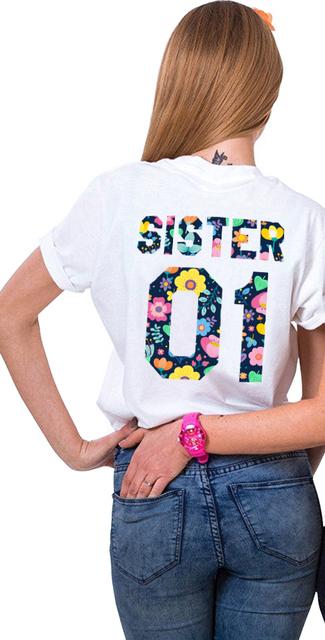Gift for Sister Matching Sister 01 02 Shirts Girls Bff T-Shirt Femme Tumblr Women Summer Clothes T Shirt Cotton Best Friend Tees