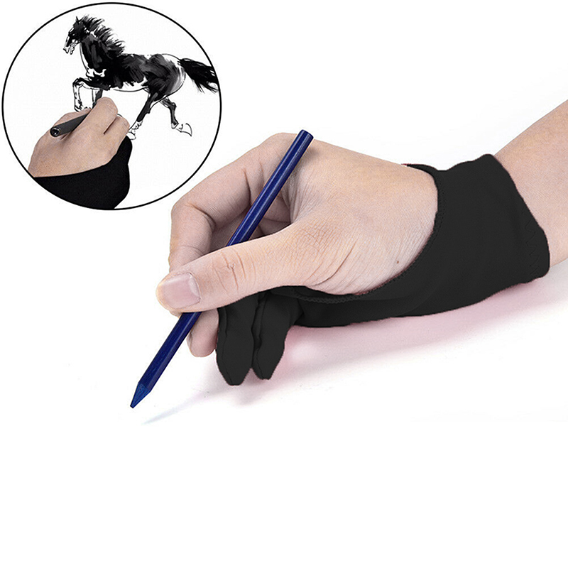 Anti Fouling Artist Glove For Drawing,Black 2 Finger Painting Digital Tablet Writing Glove For Art Students Arts Lover