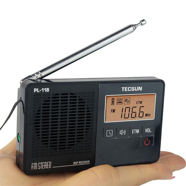 Venda quente! Tecsun PL-118 FM DSP Rádio FM Estéreo ETM Rádio Relógio Alarme Receptor Profissional Preto Y4142