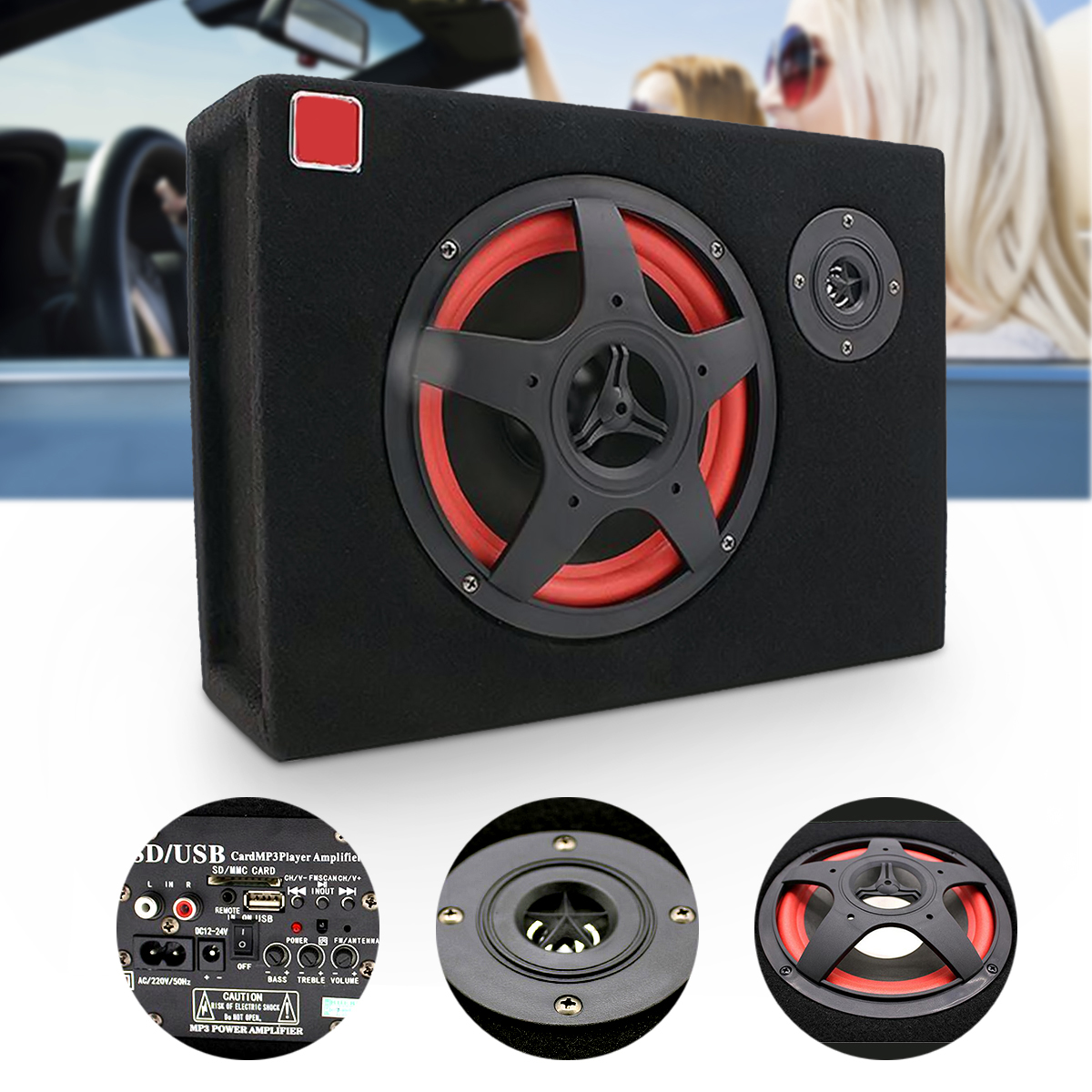 6'' Under-Seat Car Active Subwoofer Speaker Stereo Bass Audio Powered Amp Audio Stereo Powerful Subwoofer With Remote Control