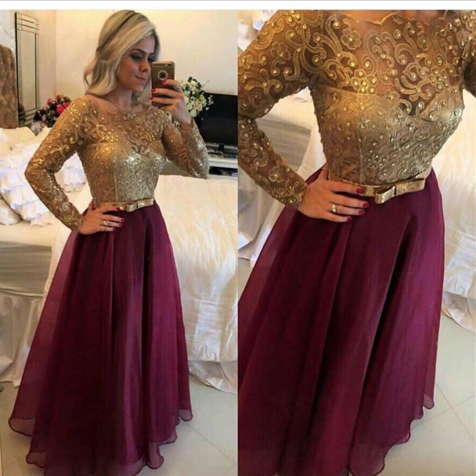 Robe de soiree a line scoop beaded lace gold chiffon for Burgundy and gold wedding dress