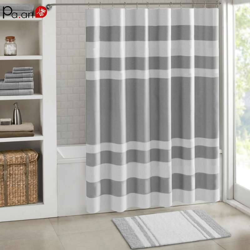 Wide Strip Bathroom Shower Curtain Gray