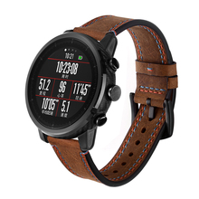 22mm leather strap with crazy horse double line Wrist strap For Xiaomi Huami Amazfit Pace Watch strap For Amazfit Stratos 2/2S