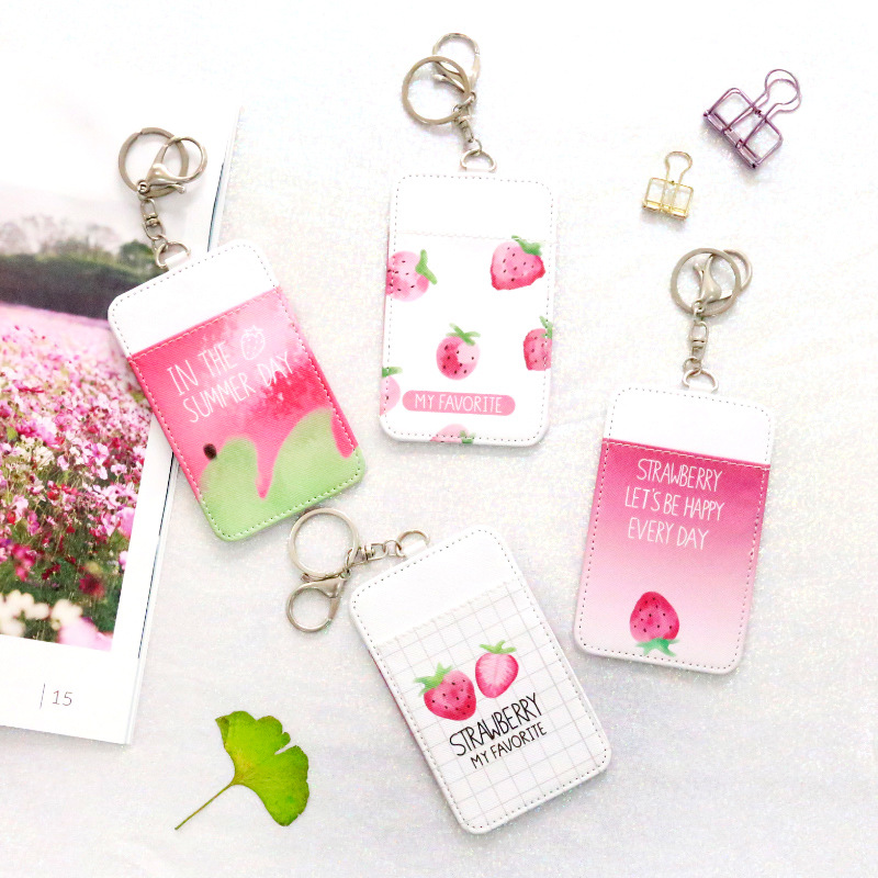 YIYOHI Cute Strawberry Shaped Named Card Holder Identity Badge with Lanyard PU Neck Strap Card Bus ID IC Holders With Key Chain