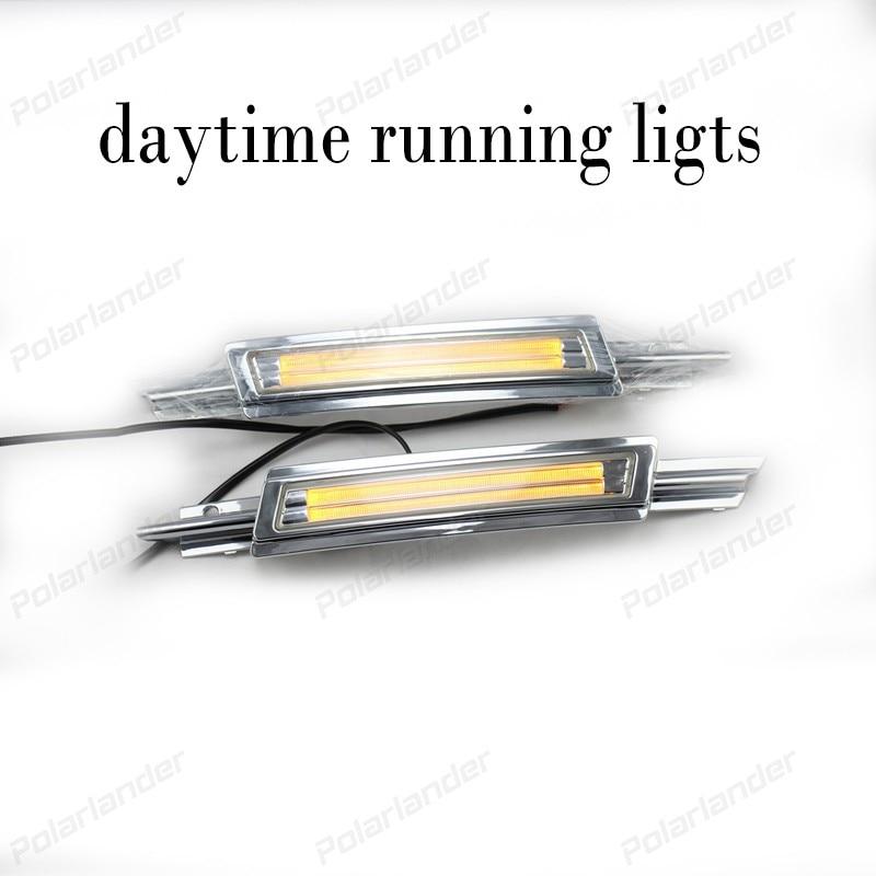 1 pair LED Daytime Running Lights DRL Fog lamp yellow turning signal lights for V/olkswagen CC 2014 2015