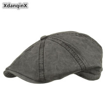 XdanqinX Unisex 100% Cotton Berets 2019 Spring Summer New Type Washed Visor Caps For Men Women Adjustable Size Brand Cap