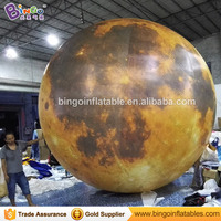 LED lighting 4M inflatable yellow moon model hot sale customized blow up balloon type moon replica for decoration toys