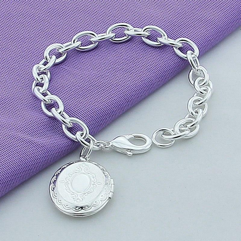 Elegante plata 925 la joyería del encanto pulseras círculo marco ...