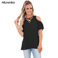 Ailunsnika 2017 Summer Fashion Women Plus Size Ruffle Sleeve Blouse Crisscross Front Cold Shoulder Top Camiseta