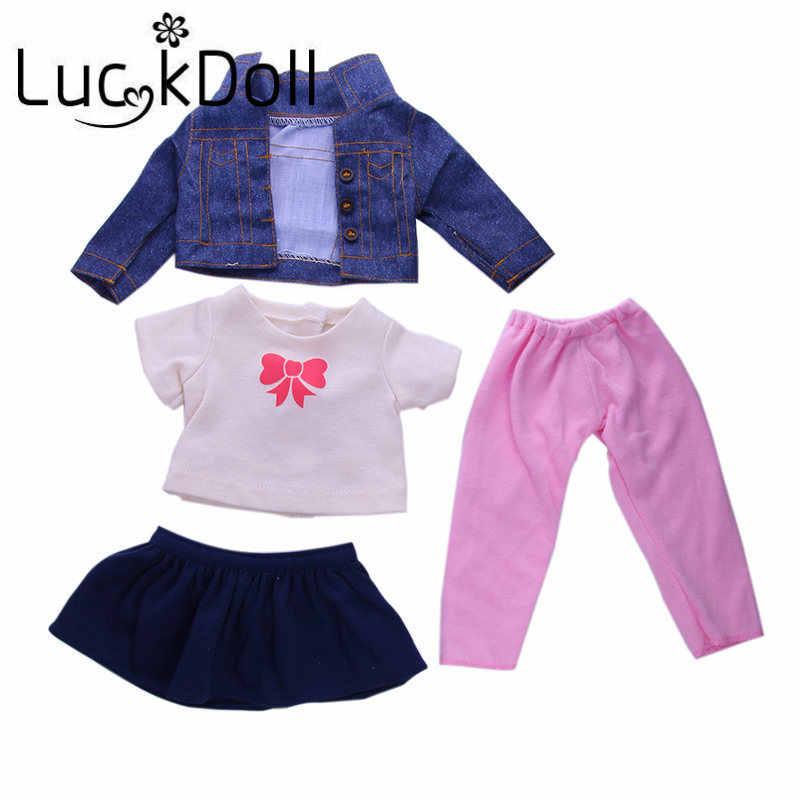 LUCKDOLL جاكيت دنيم بأكمام طويلة + تي شيرت + فستان أزرق + سروال مناسب 18 بوصة أمريكان 43cm بيبي دول ملابس إكسسوارات ، هدية للبنات
