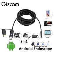2m 3 In 1 HD Waterproof 8mm Inspection Endoscope OTG Type C For Android Phone