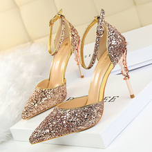 Fashion sexy women shoes 2019 European and American style hollow nightclubs thin metal with high heel shine sequins with sandals american ultra high heel fashion nightclubs sexy thin with thin shoes crossed with water platform fish mouth women s shoes