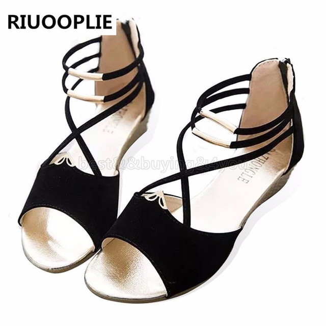 RIUOOPLIE Women Wedge Sandles Fish Mouth Design Korean Style Women's Flat Sandles