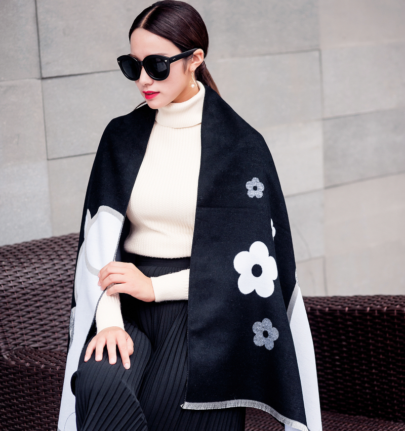 [DIFANNI] Female Floral Scarf Women Cashmere Scarf Cartoon Character Rectangle Scarf/Shawl For Ladies