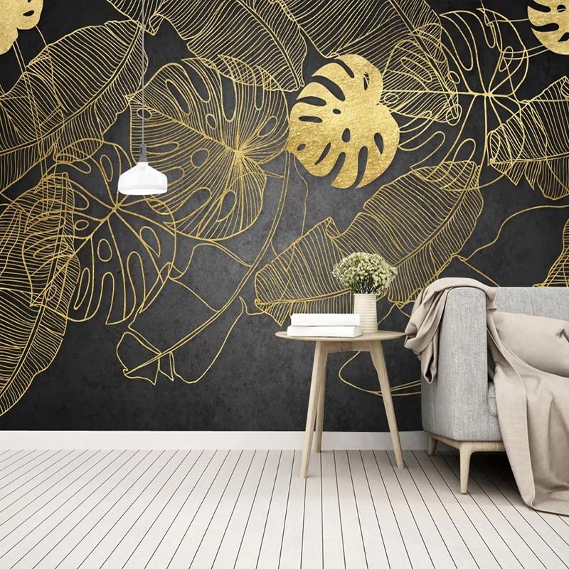 Modern Golden Banana Tropical Rain Forest Mural Wallpaper Living Room Restaurant Abstract Art Self-Adhesive Photo Wall Paper 3 D