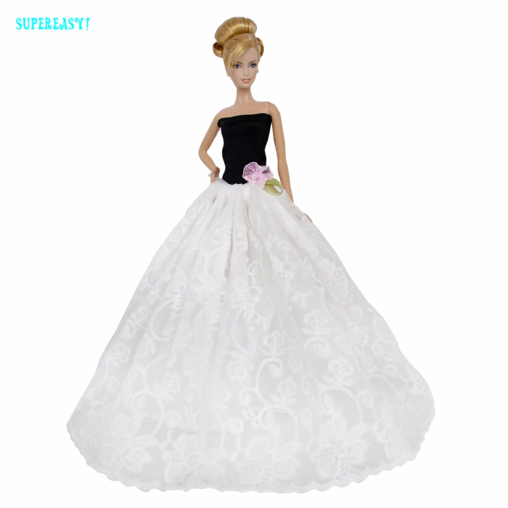 5ec7d2c5855fd High Quality Wedding Party Wear Dress Princess Gown Black White Lace Sexy  Shirt Clothes For Barbie Doll 1/6 Accessories Kids Toy