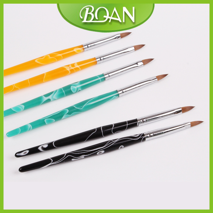 BQAN Nail Acrylic 10# Marble Brushes Flat Oval Brushes