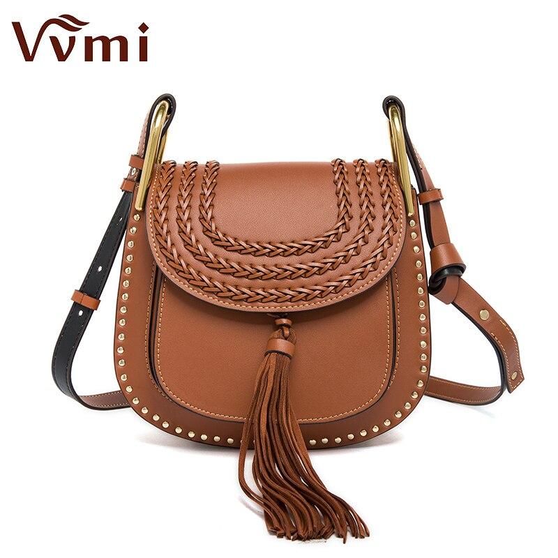 Vvmi brand  women messenger handbags classic vintage tassel woven saddle weave s