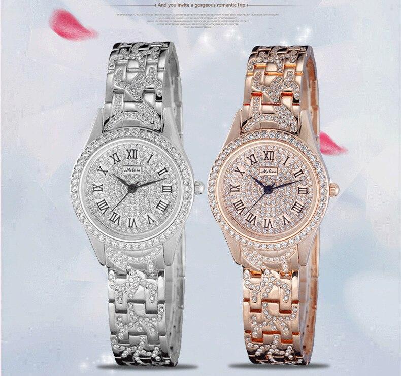MELISSA Classic Business Women Dress Watches Elegant Lady Roman Quartz Wristwatch Crystals Bracelet Relojes Montre femme F2700 3in1 diy for hyundai i25 i35 i45 wireless wifi bluetooth backup rear view reverse rearview camera camara & screen monitor
