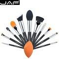 JAF Profesional 12 UNIDS Fuctions de Cosméticos Pinceles de Maquillaje y Conjunto de Herramientas Único Tez Esponja De Poliéster Con Cremallera Caso J1203MYZ-B