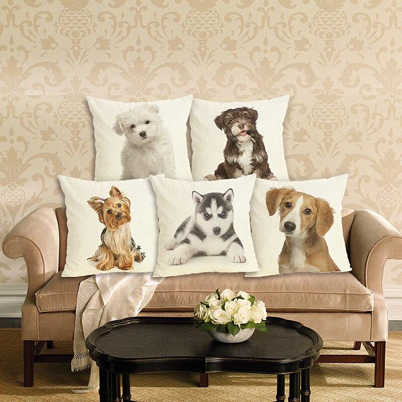 New Home Decor Lovely  Dog  Printed Cushion Cover Linen  Pillowcase Decorative Throw Pillow Cover For Sofa Cushion Case