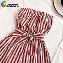 купить 2019 New Fashion Women Rompers Striped Tube Top Beach Party Jumpsuit Sexy With Waistband Wide Leg Plus Size дешево