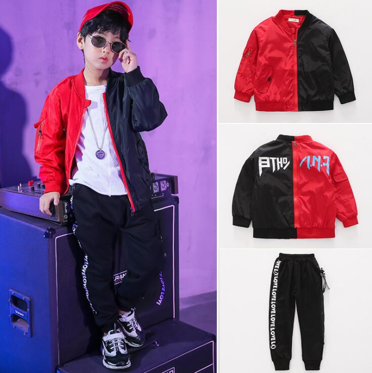 2019 Spring Autumn Kids Clothes Boys 4 5 6 7 8 9 10 11 12 14 Years Boys Clothing Set Sports Suit Boys Black Red Jacket And Pants