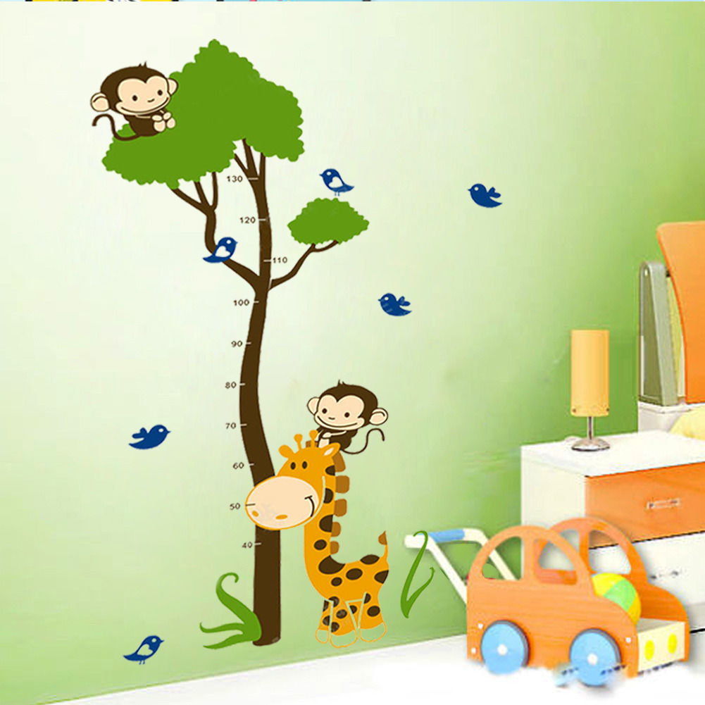 Wall Design For Kids kids wall stickers nursery wall decals childrens room decors murals wallpapers high quality decor accessories baby room e glue Best Hot Giraffe Monkey Tree Height Chart Vinyl Wall Decals Sticker Kid Nursery Decor Wrb Product