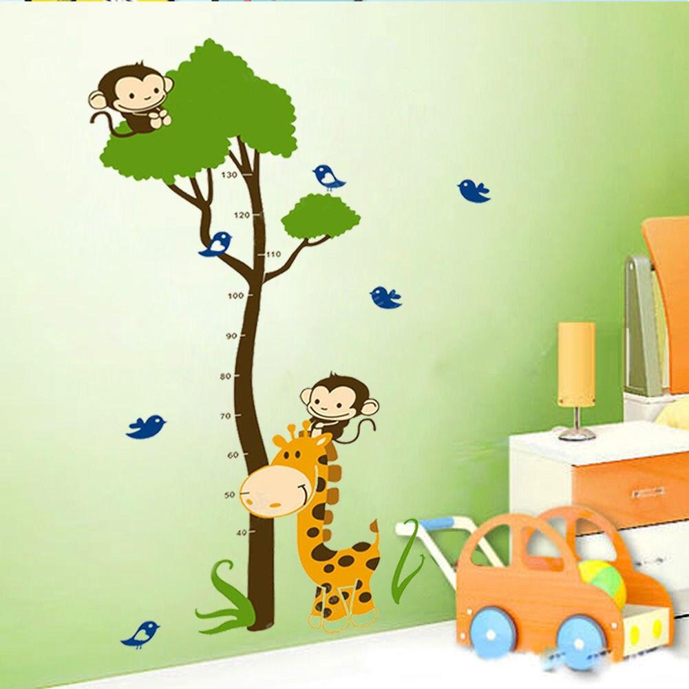 Hot Giraffe Monkey Tree Height Chart Vinyl Wall Decals Sticker Kid Nursery  Decor WRB(China