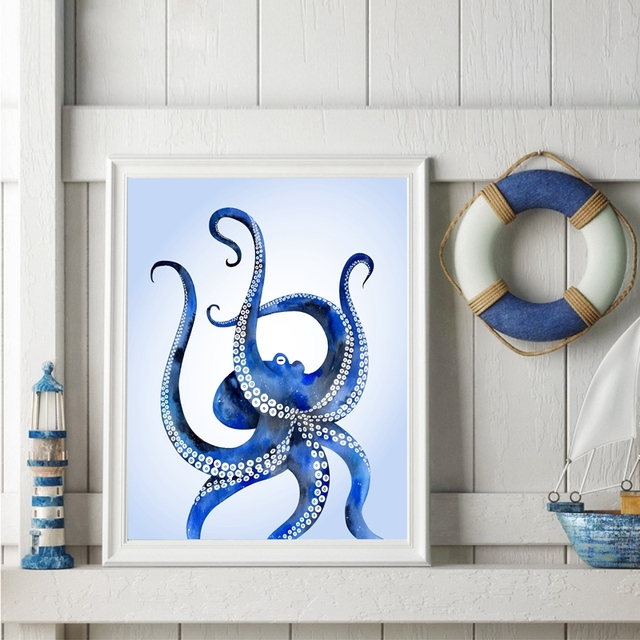 Charming Watercolor Ocean Octopus Art Print Pictures , Modern Ocean Animal Octopus  Canvas Art Painting Modern Bathroom
