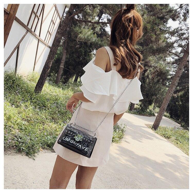 18 Summer Fashion New Handbag High quality PVC Transparent Women bag Sweet Printed Letter Square Phone bag Chain Shoulder bag 10