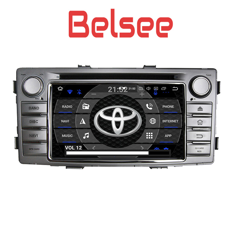 Belsee Android 8.0 Auto Parts Head Unit Stereo Radio Sat Nav Apple Carplay Touch Screen HD for Toyota Hilux 2012 2013 2014 2015