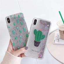 Quicksand cactus phone case For iphone XS MAX XR X Hard Plastic Case iPhone 6 6s 7 8Plus Dynamic liquid Capa ipone Shell