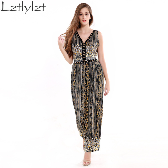 LZ Mulheres Africano Imprimir Rompers Womens Jumpsuit Profundo Decote Em V Oco Out Sexy Macacões para As Mulheres 2016