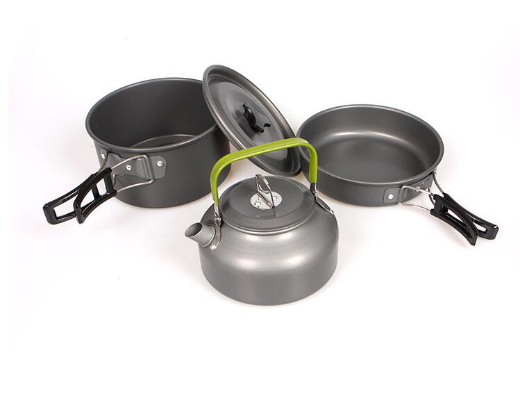 3 person Alloy Outdoor Camping Cookware Set Picnic Pot Fry Pan Kettle Set Сковорода