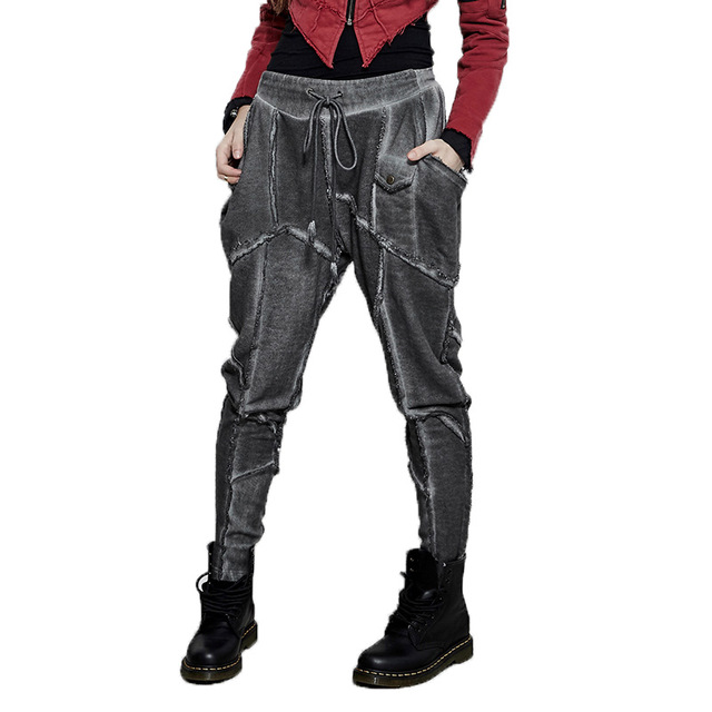 Retro Hop Cintura Elástico Suelta Verano Steampunk Casual Hip Costura Señoras 2018 De Pantalones Alta HRqUcY