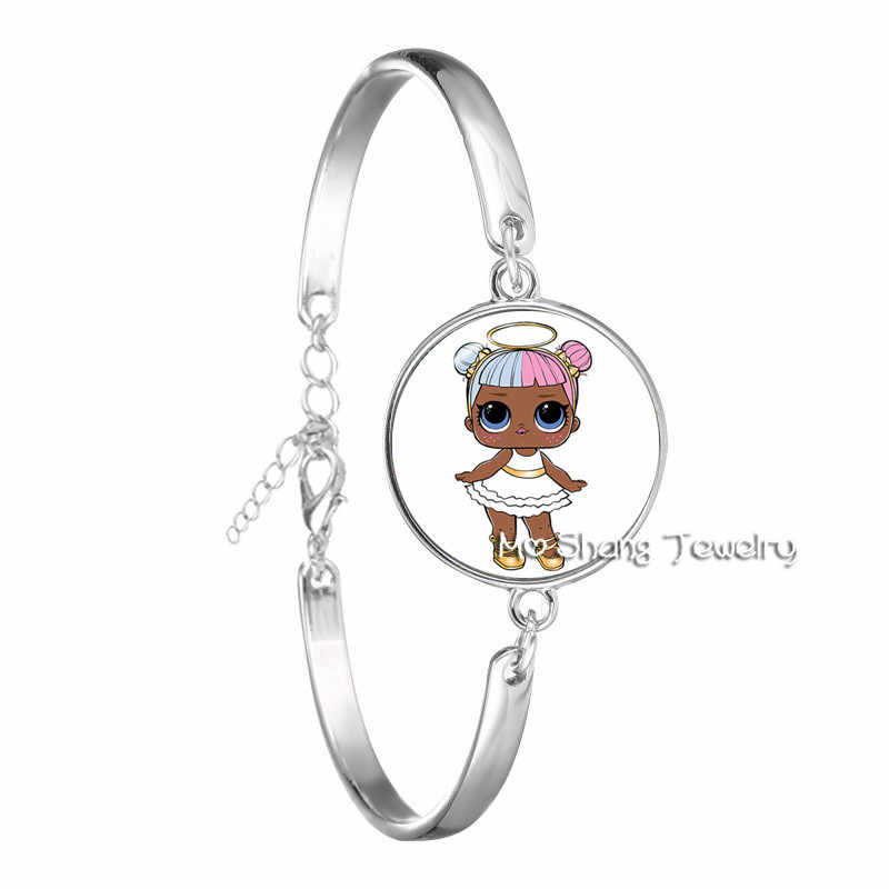 Cartoon Dolls Bracelet Cute Baby Glitter Princess Dress Dolls Glass Bangle Can Choose Various Styles Via message/Remarks