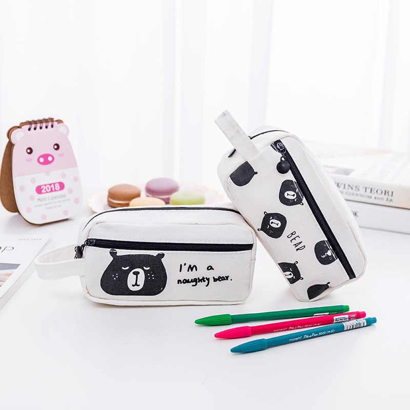 4 أنواع المحمولة أسود أبيض الكرتون الدب حالة من رصاص القلم مربع الاطفال قلم رصاص حقيبة حاكم تخزين طالب هدية مكتب المدرسة إمدادات