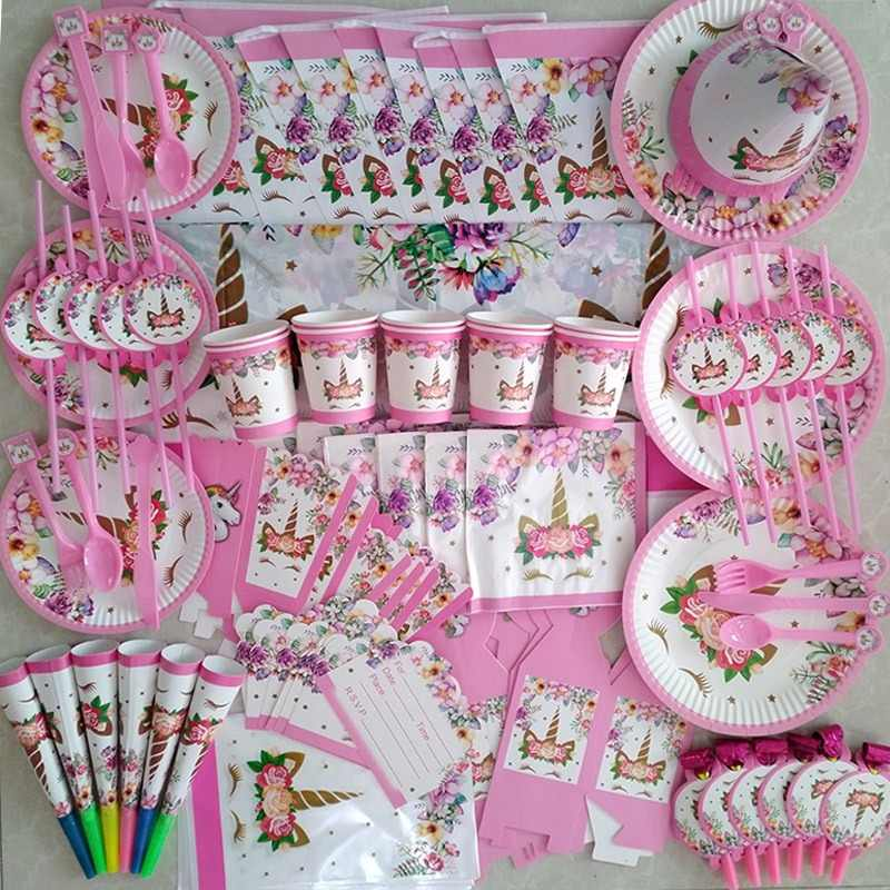 Unicorn Party Supplies Pink Rainbow Unicorn Banner Plates Balloons Napkin Cupcake Wrapper Baby Shower Kids Birthday Decorations