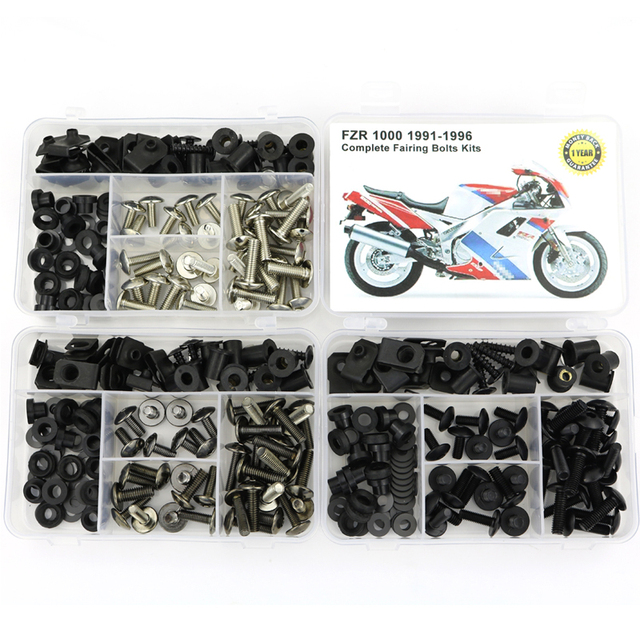 For Yamaha FZR 1000 1991 1996 Motorcycle Complete Full Fairing Bolts Kit Screws Steel Clips Speed Nuts Covering Bolts