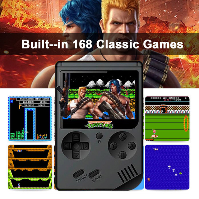 AV Port MINI Video Game Console 3.0 inches Portable Handheld Game Player Built-in 168 Games Video Games Best Gift For Kids 5