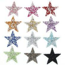 6x6 см звезда кристалл патчи красочные термо-Стикеры для одежды на одежду блесток железа на патч для футболки аппликации для девочек ремесла DIY