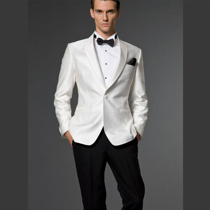 Trajes De Novio 2015 Hombre White Wedding Suits For Men Slim Fit One Button Groom Wear Bridegroom Business Jacket Pant Bow In From Mens